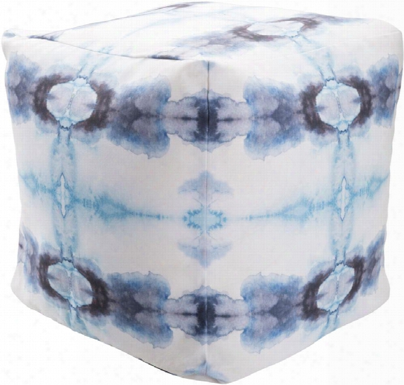 Surya Poufs Polyester Pouf In White And Light Blue Color