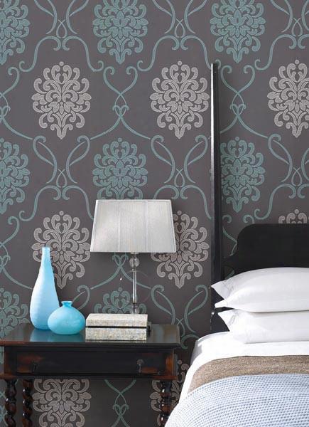 Suzette Damask Wallpaper In Aqua Design By Brewster Home Fashions