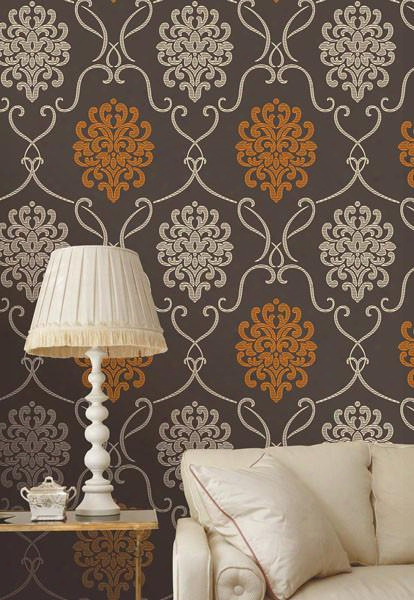 Suzette Damask Wallpaper In Espresso Brown Design By Brewster Home Fashions