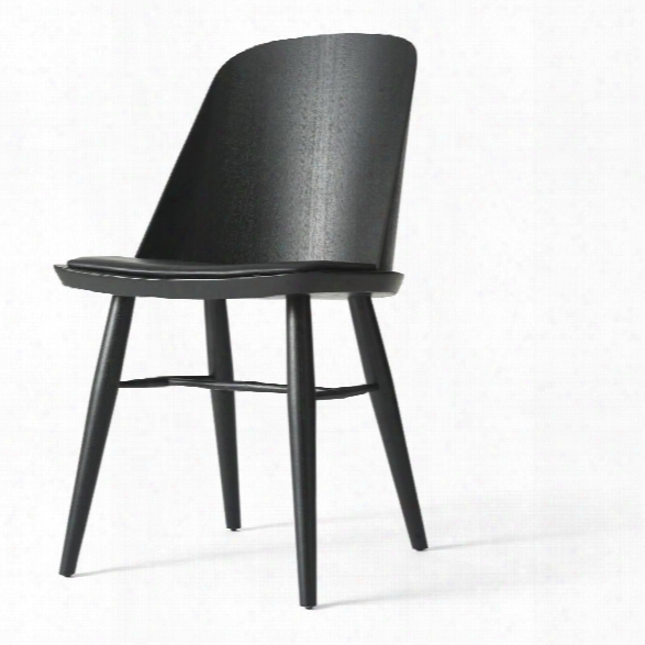 Synnes Dining Chair In Black Ash W/ Black Silk Leather Upholstery Design By Menu
