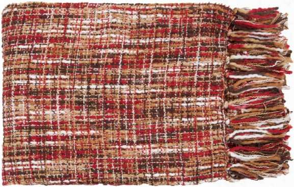Tabitha Throw Blankets In Bright Red Color By Surya