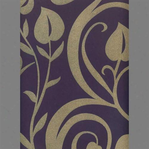 Tan & Purple Heart Leaf Damask Velvet Flocked Wallpaper Design By Burke Decor