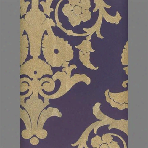Tan & Purple Medallion Damask Velvet Flocked Wallpaper Design By Burke Decor