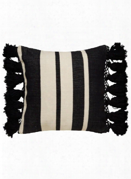 Tassel Stripe Yorkville Pillow In Black & Off White Design By Kate Spade
