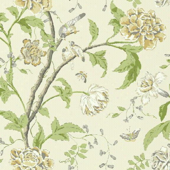 Teahouse Floral Wallpaper In Yellow And Green Design By Carey Lind Fod York Wallcoverings