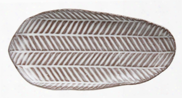 Terra-cotta Irregular Plate W/ Pattern Design By Bd Edition