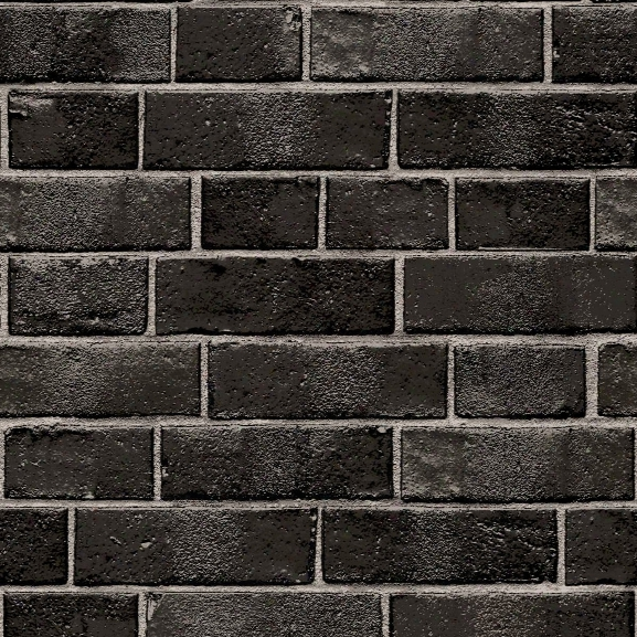 Textured Brick Self Adhesive Wallpaper In Ebony Design By Tempaper