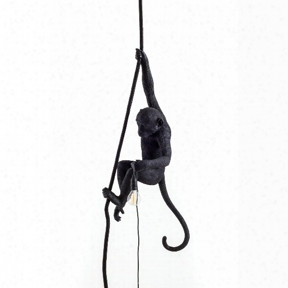 The Monkey Lamp In Black Ceiling Version Design By Seletti