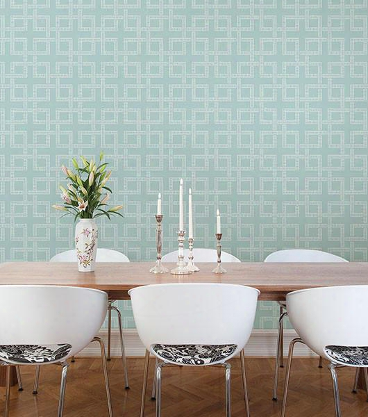Theory Turquoise Geometric Wallpaper From The Symetrie Collection By Brewster Home Fashions