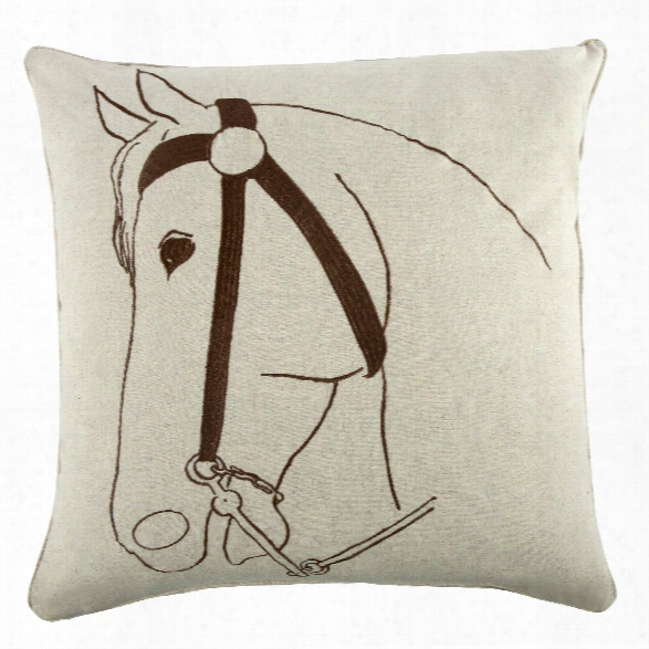 "Thoroughbred 22"" Flax Pillow In Java Design By Thomas Paul"