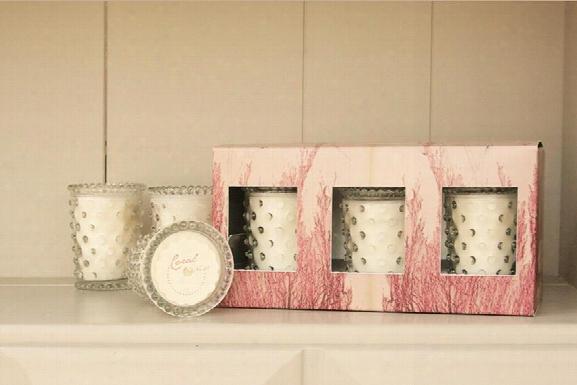 Three Piece Hobnail Votive Gift Set In Stem Design By Simpatico