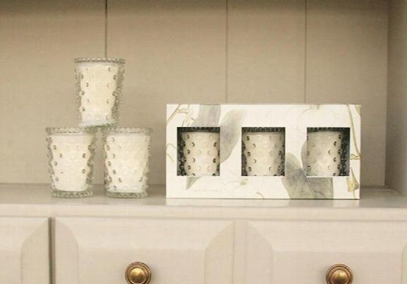 Three Piece Hobnail Votive Gift Set In White Flower Design By Simpatico
