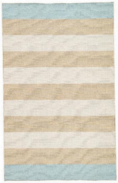 Tierra Handmade Stripe Tan & Blue Area Rug Design By Jaipur
