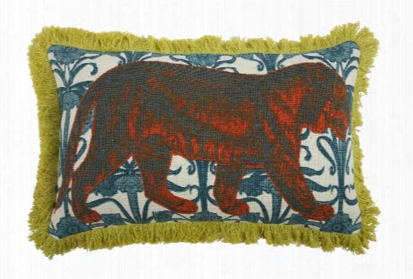 "Tiger 12"" X 20"" Linen/cotton Pillow In Aqua Design By Thomas Paul"