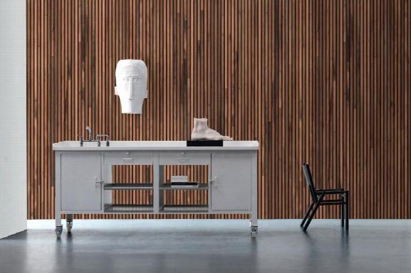 Timber Strips Wallpaper In Teak On Black By Piet Hein Eek For Nlxl Wallpaper