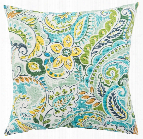 Blue & Green Floral Pezzola Franco Indoor/ Outdoor Throw Pillow Design By Jaipur