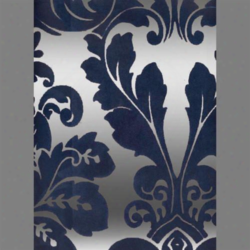 Blue & Silver Mylar Bulb Damask Velvet Flocked Wallpaper Design By Burke Decor
