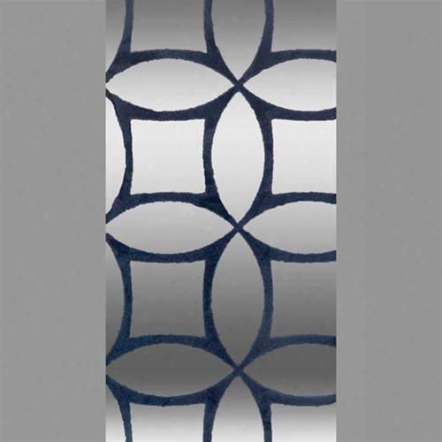 Blue & Silver Mylar Criss Cross Velvet Flocked Wallpaper Design By Burke Decor