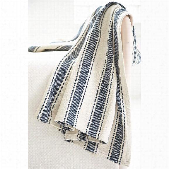 Blue Awning Stripe Woven Cotton Throw By Dash Albert