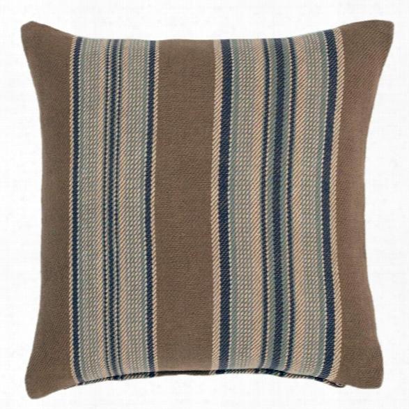 Blue Heron Stripe Woven Cotton Decorative Pillow By Dash Albert