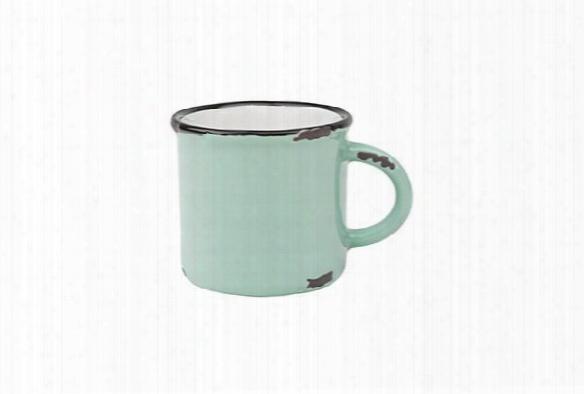 Tinware Espresso Mug In Pea Green Design By Canvas