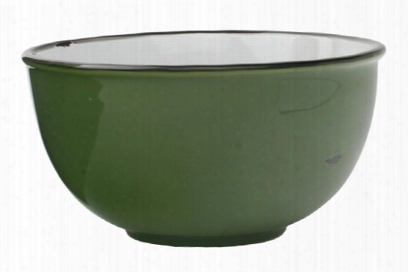Tinware Tall Bowl In Green Design By Canvas