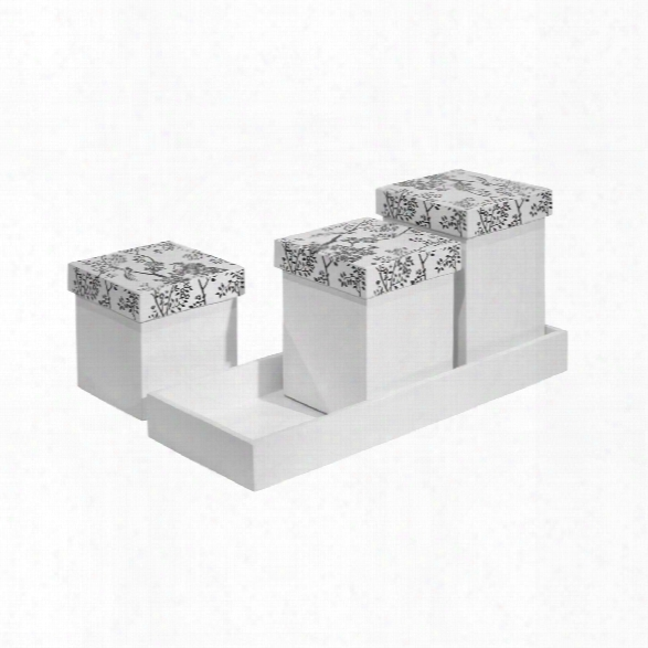 Toile Square Canister W/ Tray In Black & White Design By Bungalow 5