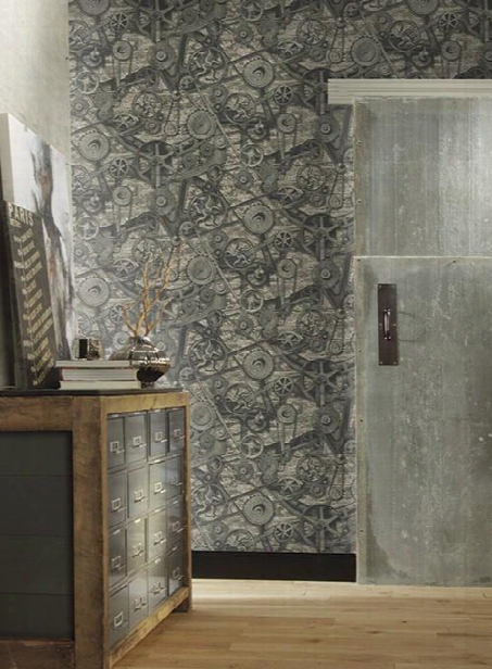 Torque Wallpaper In Dark Grey And Silver Design By Carey Lind For York Wallcoverings