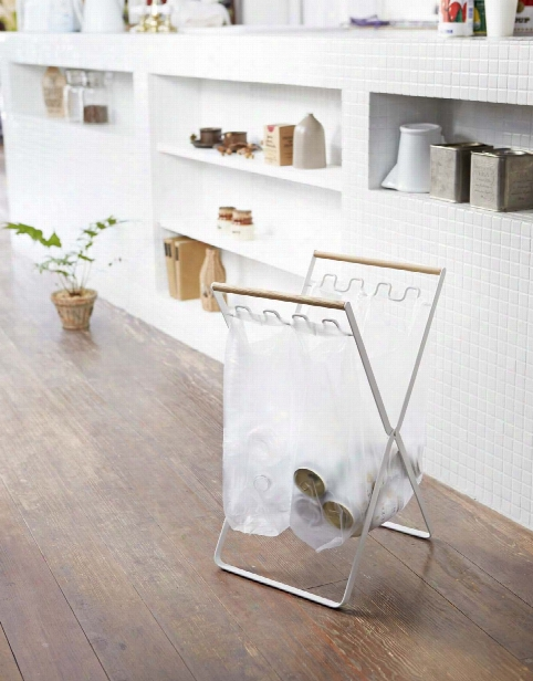 Tosca Folding Trash Bag Stand In White Design By Yamazaki