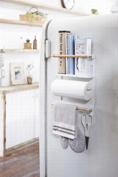 Tosca Magnetic Kitchen Organization Rack In White Design By Yamazaki
