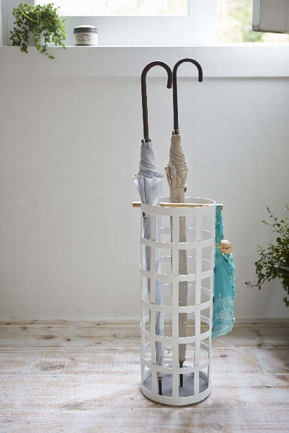 Tosca Round Umbrella Stand In White Design By Yamazaki
