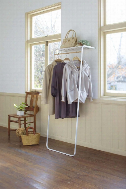 Tower Coat Hanger With Shelf In Various Colors Design By Yamazaki