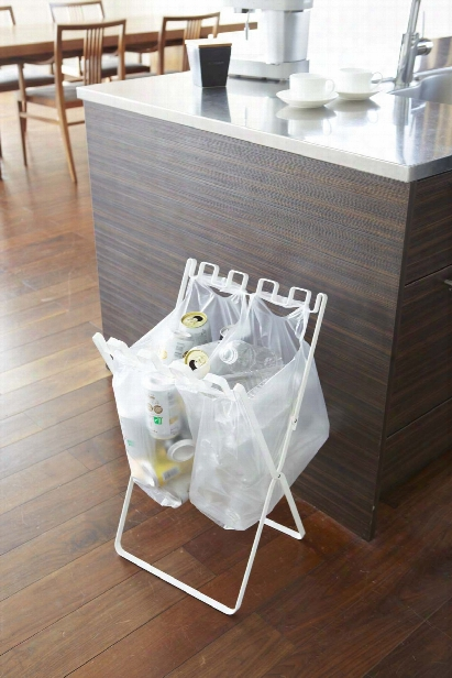 Tower Folding Trash Bag Stand In Various Colors Design By Yamazaki