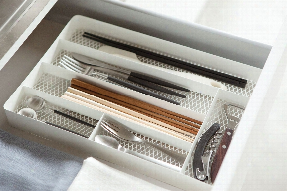 Tower Mesh Cutlery Drawer Organizer In Various Colors Design By Yamazaki