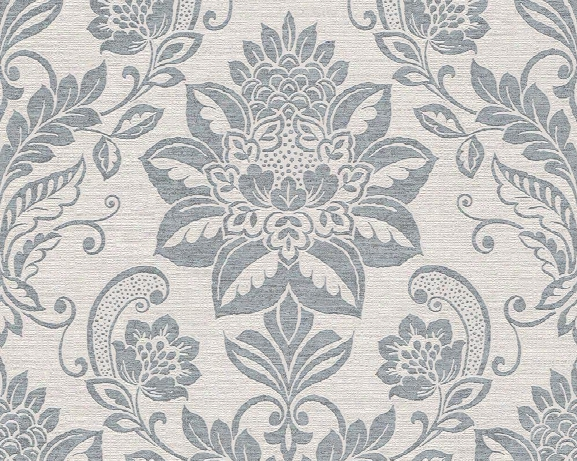Traditi Onal Damask Wallpaper In Beige And Blue Design By Bd Wall