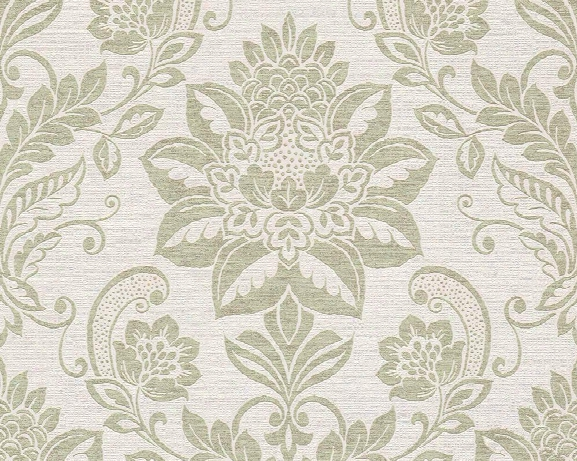 Traditional Damask Wallpaper In Beige And Green Sketch By Bd Wall