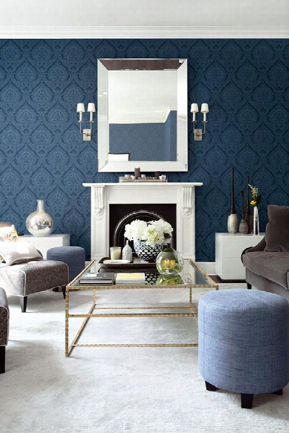 Traditional Damask Wallpaper In Blues Design By Seabrook Wallcoverings