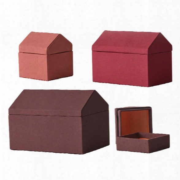 Traditional Houses Storage Set Of 4 In Red Design By Menu