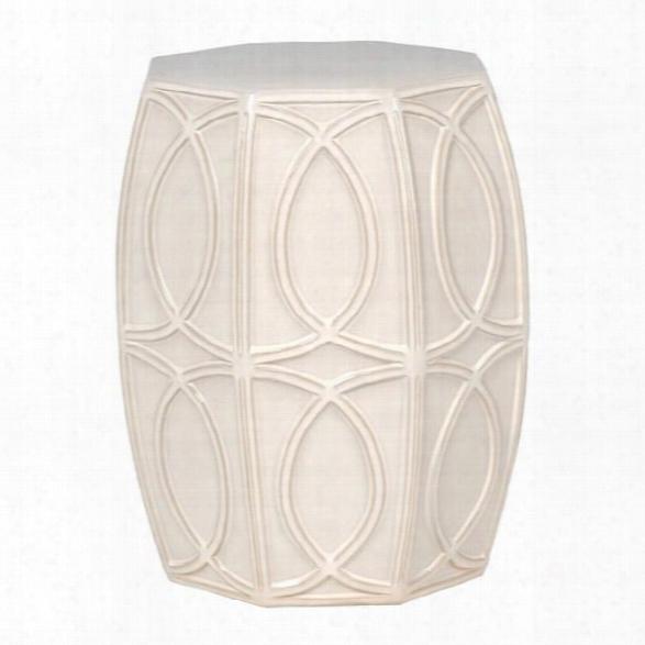 Treillage Garden Stool In White Design By Emissary