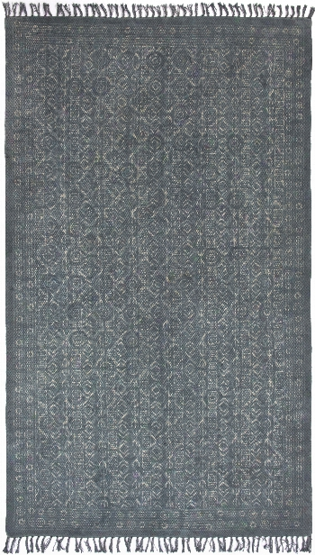 Tribal Block Print Rug In Blue Slate