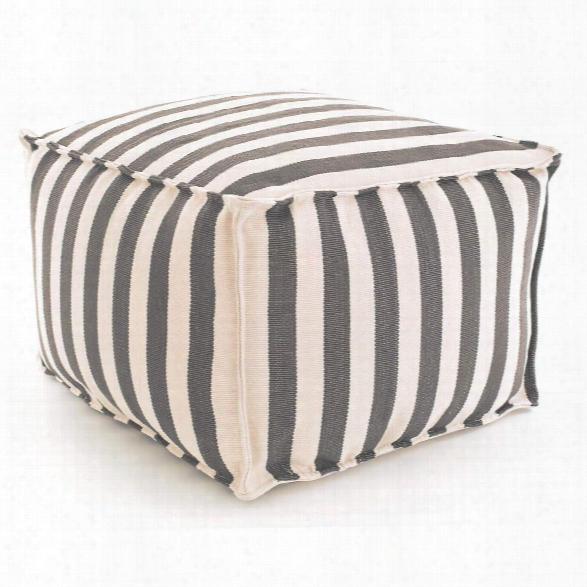 Trimaran Stripe Graphite/ivory Indoor/outdoor Pouf Design By Fresh American