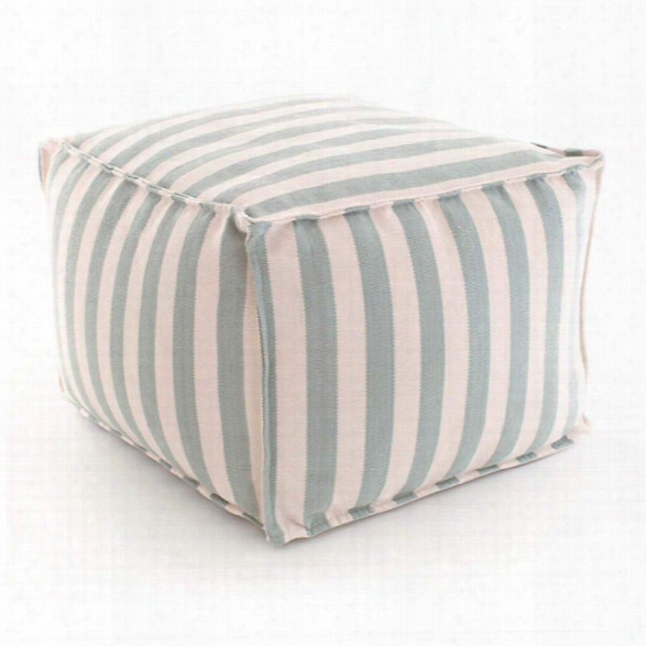 Trimaran Stripe Light Blue/ivory Indoor/outdoor Pouf Design By Fresh American