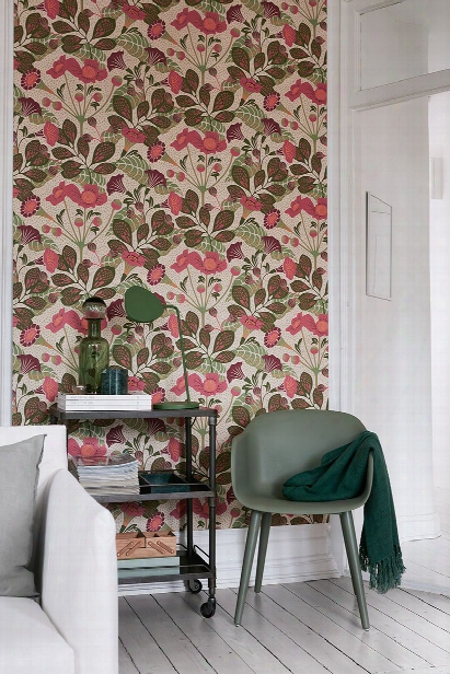 Tropisk Pink Floral Wallpaper From The Wonderland Collection By Brewster Home Fashions