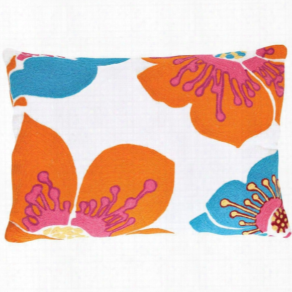 Trumpet Turquoise/tangerine Indoor/outdoor Pillow Design By Fresh American