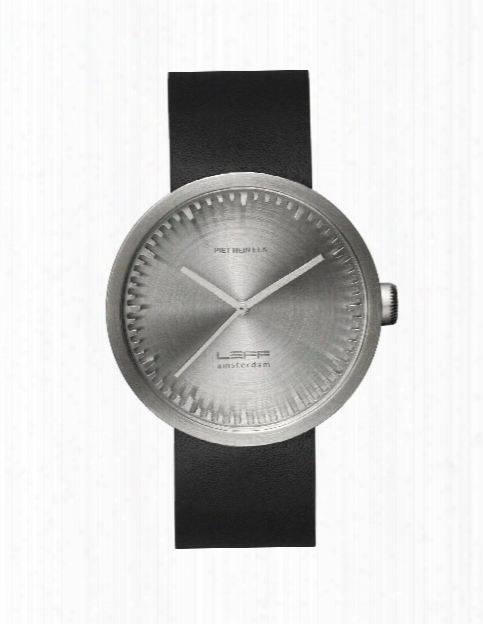 Tube Watch In Steel W/ Black Leather Strap Design By Leff Amsterdam