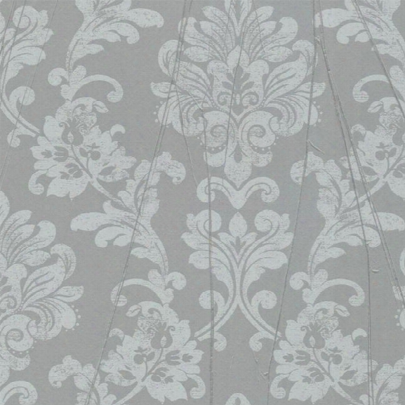 Tuck Tapestry Wallpaper N Metallic Grey And Soft Aqua By Antonina Vella For York Wallcoverings