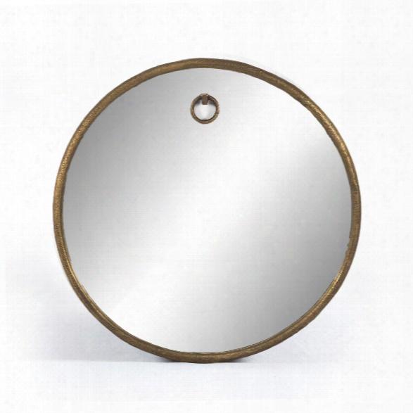 Tudor Round Mirror In Raw Antique Brass