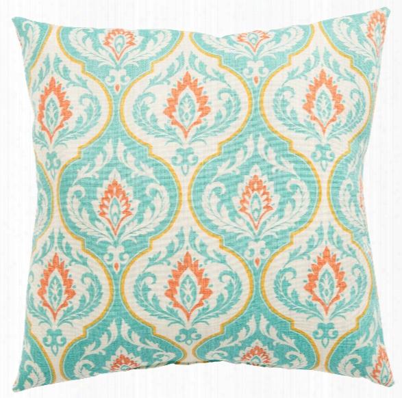 Turquoise & Orange Medallion Ragone Fresco Indoor/ Outdoor Throw Pillow Design By Jaipur
