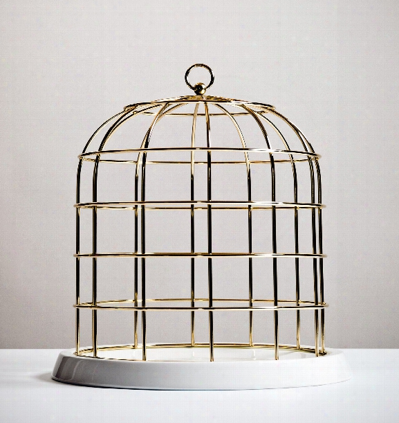 Twitable Gold Metal Birdcage W/ Porcelain Base Design By Seletti