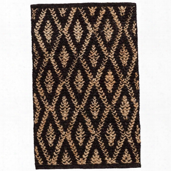 Two-tone Diamond Black/natural Woven Jute Rug By Dash Albert